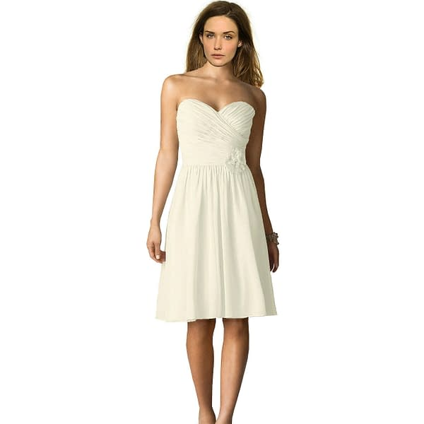 Strapless Short Chiffon Bridesmaid Formal Cocktail Evening Party Dress Ivory 191233578750