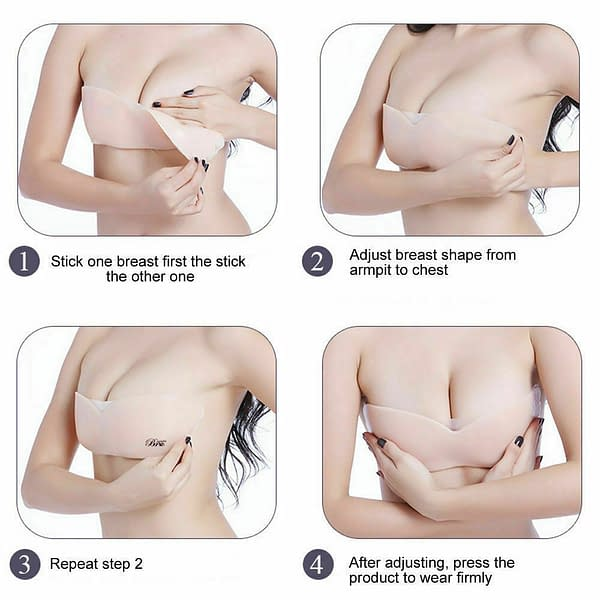 Womens Self Adhesive Silicone Push Up Strapless Backless Invisible Bra Lingerie 174136274411 4