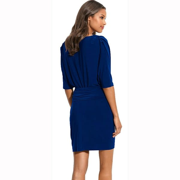 Batwing Sleeves Crewneck Jersey Party Day Night Cocktail Evening Dress Blue 191231116586 2