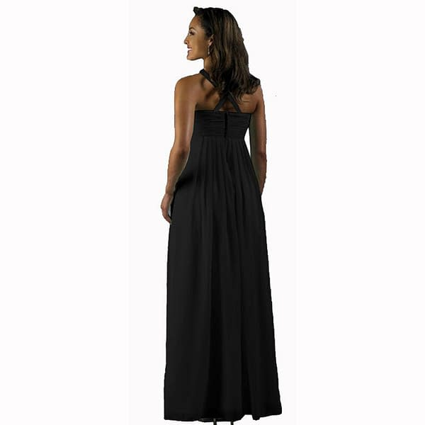 Long Flowing Ruffled Front Formal Bridesmaid Evening Dress Maxi Gown Black 400735459044 2