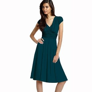 Ruched Cap Sleeves Chiffon Cocktail Dress Teal