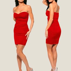 Ruched Strapless Night Club Dress Red