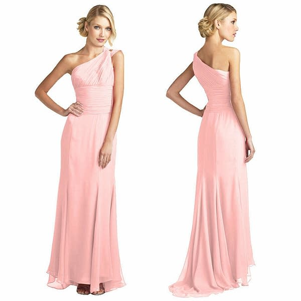 One Shoulder Fitted Body Wrap Chiffon Formal Ball Gown Evening Dress Light Pink 401281239043