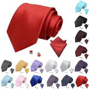 Fashion Colour Striped Ties Set with Hanky & Cufflinks