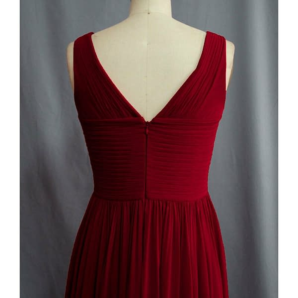 Pleated Flowing Formal Evening Gown Bridesmaid Dress with shawl Burgundy 191233561738 4