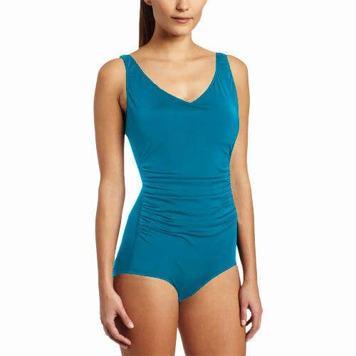 Ruched Ladies Womens Side Shirred Contourback Swimsuit Swimwear Blue 171496614999