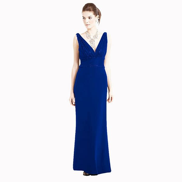 V Neck Sleeveless Beaded Formal Cocktail Party Dress Evening Gown Cobalt Blue 171376217167