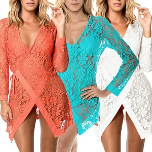 Beautiful Tie up Long Sleeves Lace Cover Up