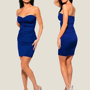 Ruched Strapless Night Club Dress Blue