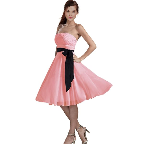 Sexy A Line Strapless Chiffon Formal Bridesmaid Cocktail Party Dress Light Pink 400736024964