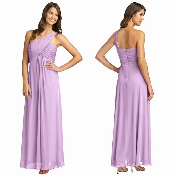Elegant One Shoulder Crisscross Evening Party Dress Formal Night Gown Lilac 172550020818