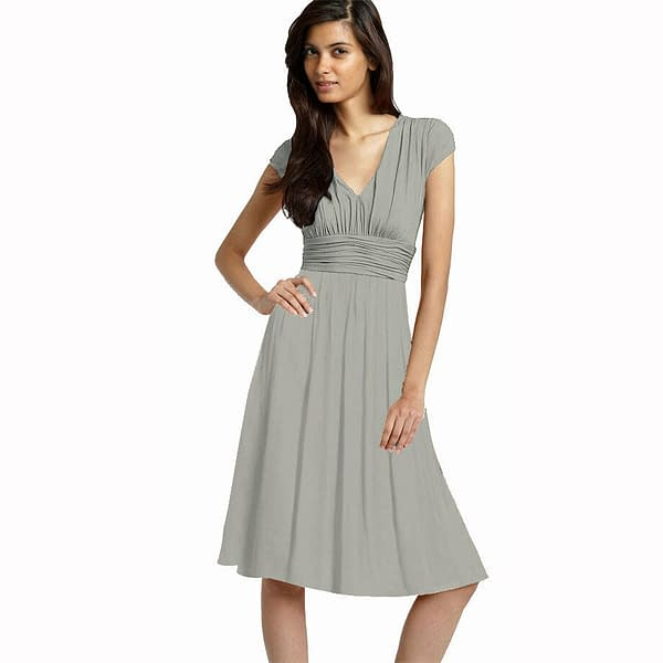 Ruched Cap Sleeves Chiffon Cocktail Evening Dress Prom Party Wear Pearl Grey 172532131319