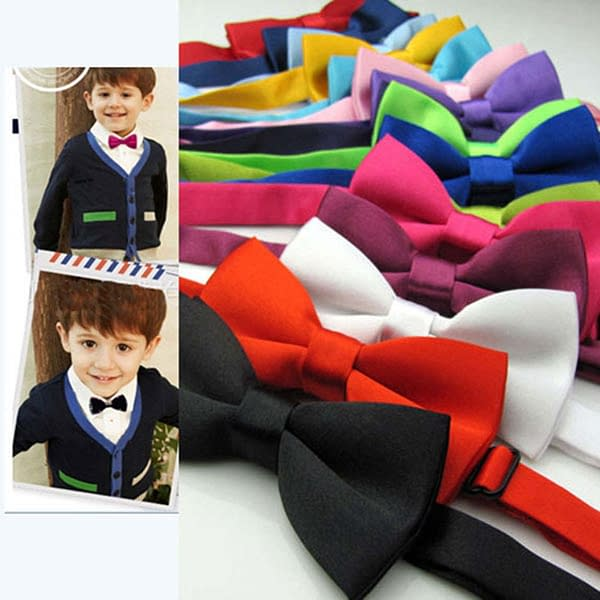 Cute Solid Colour Satin Kids Bowtie Pre Tied Bow
