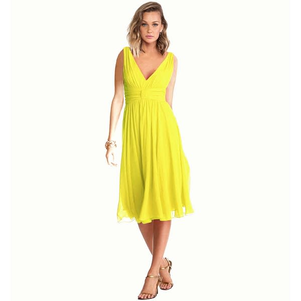 Exquisite V-Neck Cocktail Party Chiffon Dress Yellow