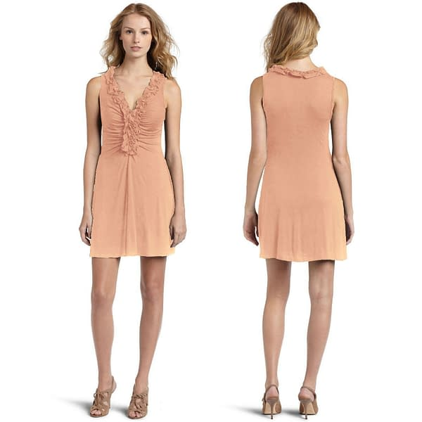 Ruffle V Neck Cocktail Evening Party Clubwear Dress co9635 Apricot 400775139708