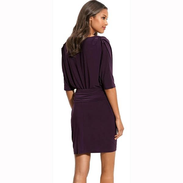 Batwing Sleeves Crewneck Jersey Party Day Night Cocktail Evening Dress Eggplant 171376215867 2