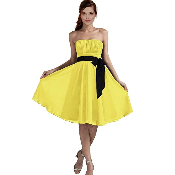 Sexy A Line Strapless Chiffon Formal Bridesmaid Cocktail Party Dress Yellow 191230277231