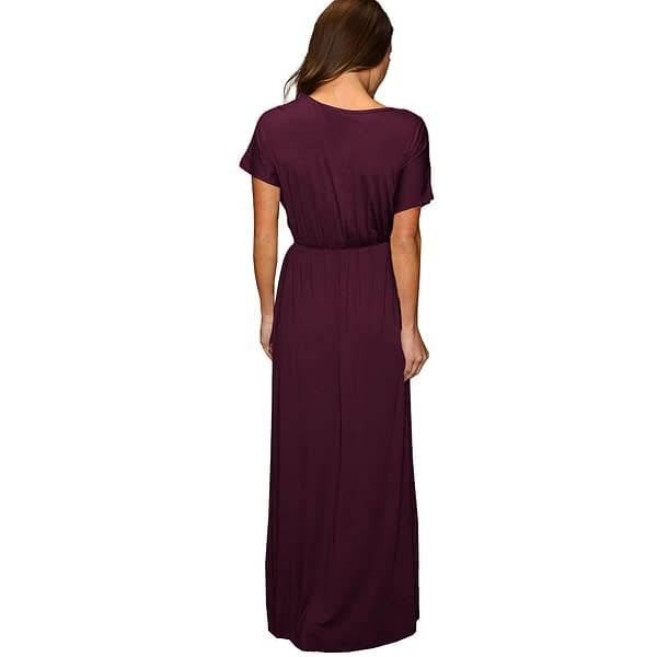 Short Sleeve Long Maxi Jersey Cocktail Party Evening Dress Eggplant 191234434813 2