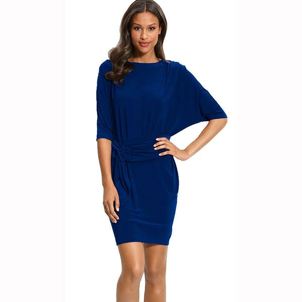 Batwing Sleeves Crewneck Jersey Party Day Night Cocktail Evening Dress Blue 191231116586