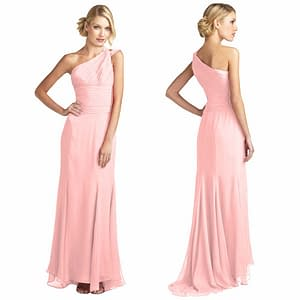 One Shoulder Formal Fitted Body Wrap Chiffon Dress Pink