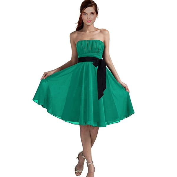 Sexy A Line Strapless Chiffon Formal Bridesmaid Cocktail Party Dress Turquoise 172527729247
