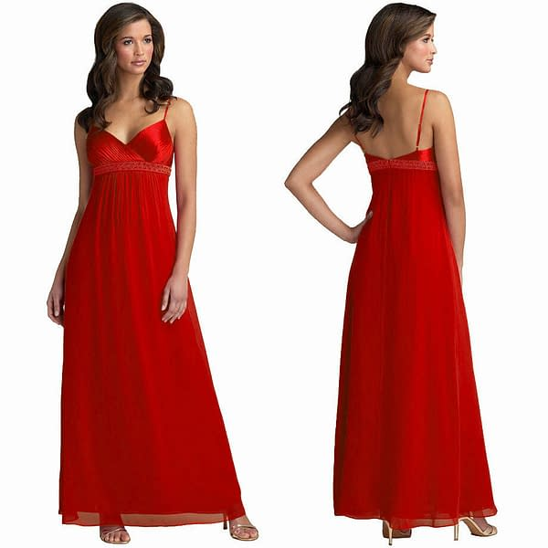 Beaded Long Chiffon Formal Evening Gown Bridesmaid Maxi Dress Red 171375431453