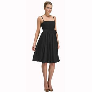 Sexy Knee Length Cocktail Party Dress Chiffon Black