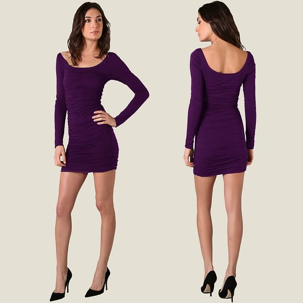 Long Sleeves Scoop neck Jersey Day Night Party Dress co9730 Purple 171465298093