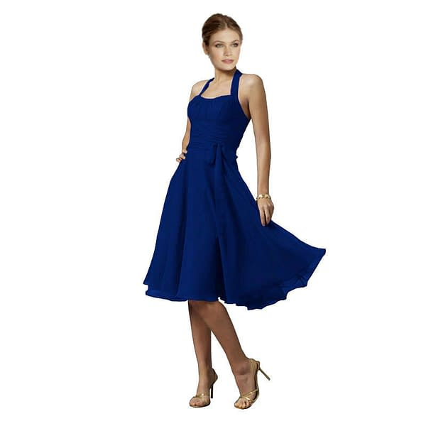 Halterneck Knee A line Cocktail Party Bridesmaid Evening Dress co0933 Navy 192103066195