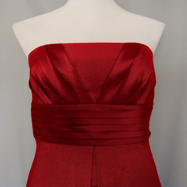A Line Strapless Pleated Taffeta Formal Evening Gown Bridesmaid Dress Scarlet 400735337675 2