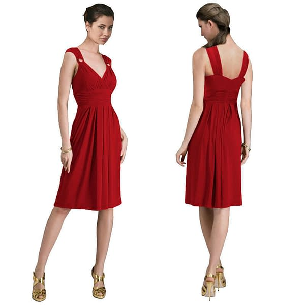 Light Shirred Stylish Knee Length Cocktail Party Day Dress Scarlet 171493362885