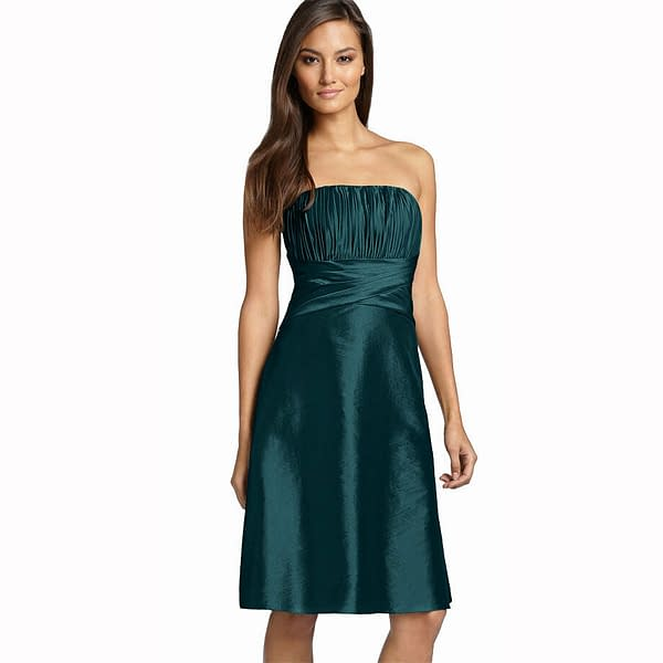 Strapless Pleated Knee Length Formal Taffeta Cocktail Party Dress Teal 171375490182