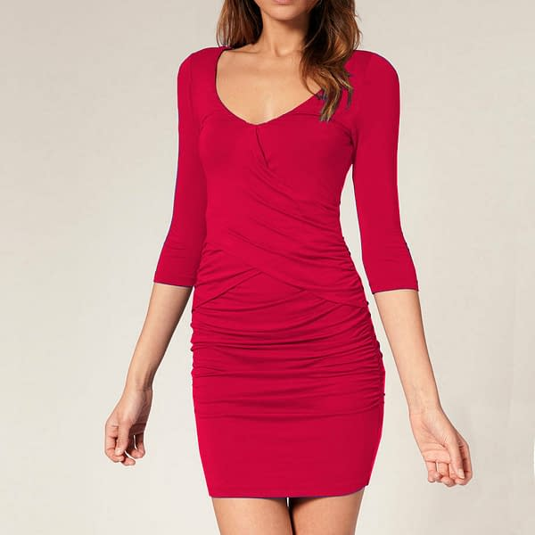 Fitted Badycon with Scooped neckline Mini Party Day Dress co9723 Fuchsia 171465335718