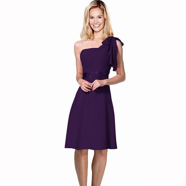 Sexy Overlay One Shoulder Knee Length Cocktail Bridesmaid Party Dress Purple 171371163202
