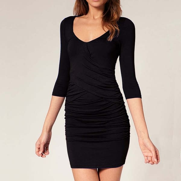 Fitted Babycon Dress with Scooped Neckline Black