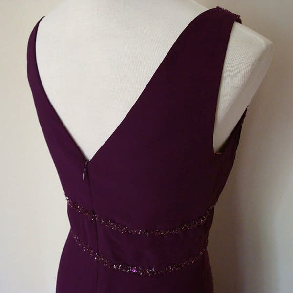 V Neck Sleeveless Beaded Formal Cocktail Party Dress Evening Gown Plum 192110711414 3