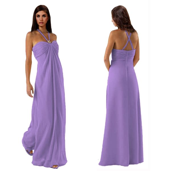 Gorgeous Long Flowing Formal Bridesmaid Dress Evening Party Night Gown Lilac 191230028810