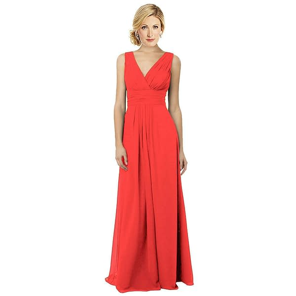 Sleeveless Chiffon V Neckline Formal Evening Gown Bridesmaid Dress Coral Red 191228324888