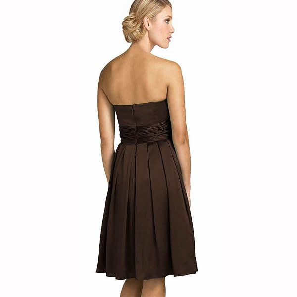 A Line Strapless Knee Length Satin Cocktail Party Bridesmaid Prom Dress Choc 192104652152 2
