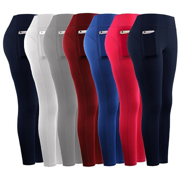 Womens Elastic Yoga Leggings Fitness Pants Sports Gym Wear Trousers with Pocket 402013640095 3