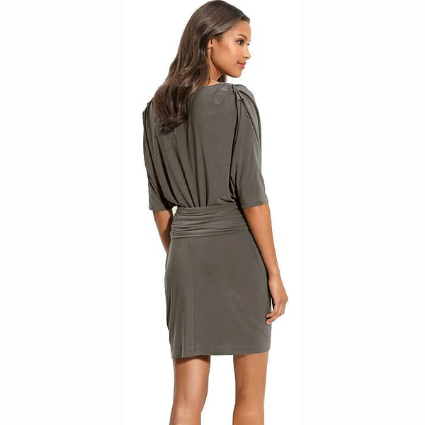 Batwing Sleeves Crewneck Jersey Party Day Night Cocktail Evening Dress Dark Grey 171375489582 2