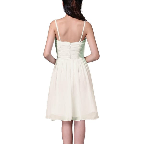 Strapless Short Chiffon Bridesmaid Formal Cocktail Evening Party Dress Ivory 191233578750 2