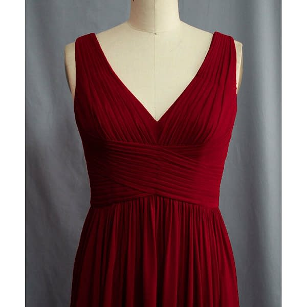 Pleated Flowing Formal Evening Gown Bridesmaid Dress with shawl Burgundy 191233561738 2