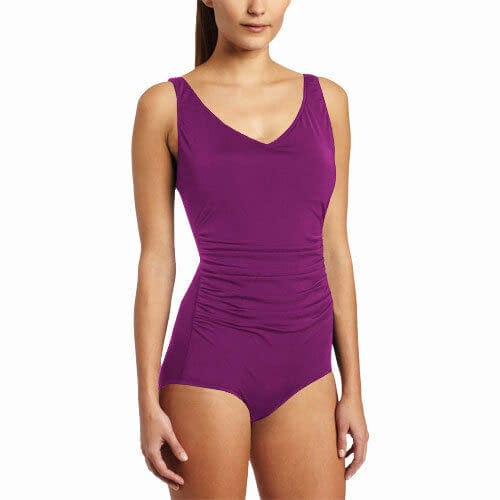 Ruched Ladies Womens Side Shirred Contourback Swimsuit Swimwear Orchid 400787246173