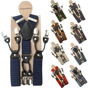 Mens 35mm Wide Suspenders 6 Clips Adjustable Elastic Leather Braces Trousers 174128189654