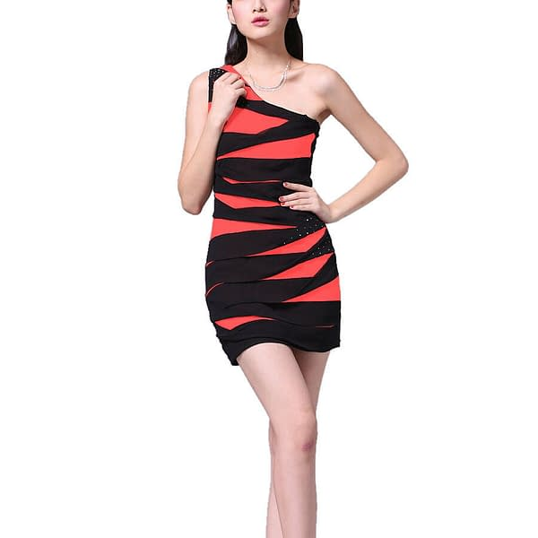 Glittery One shoulder Chiffon Club Party Cocktail Mini Bandage Dress Coral Red 192104633347 2