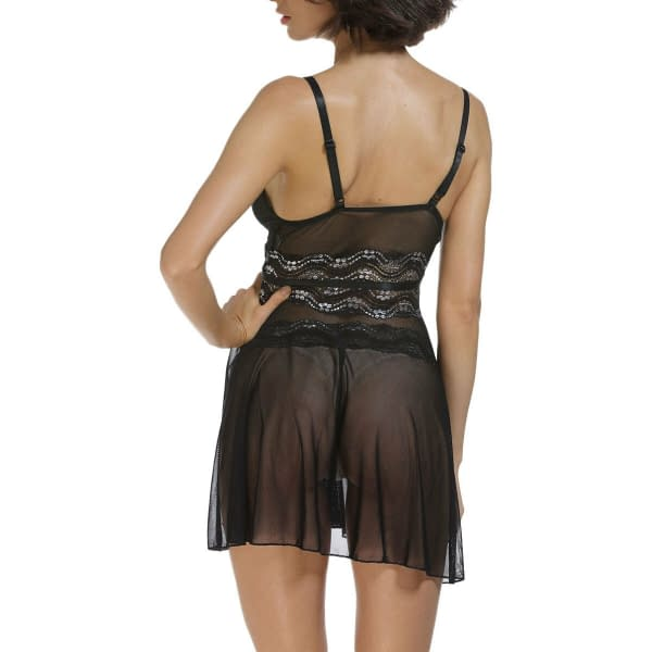 Black Mesh and Metallic Silver Lace Babydoll Chemise Lingerie 1308 Size S M L 192093970995 4