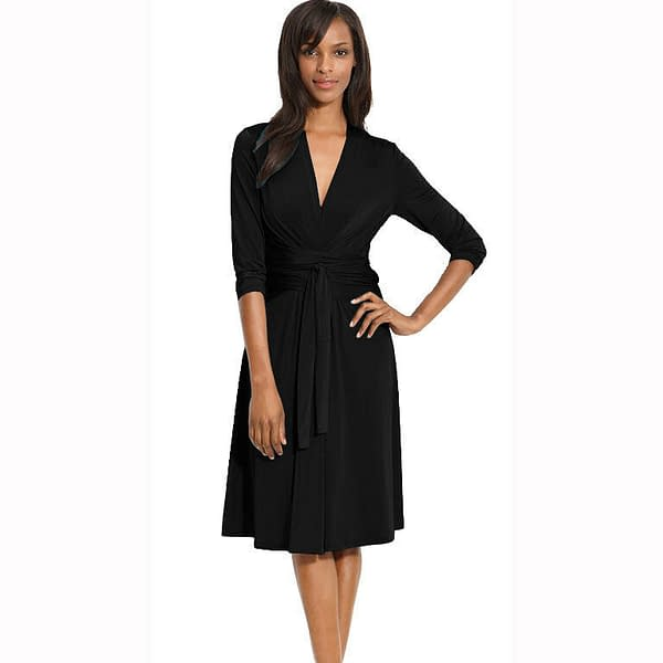 Fluid Wrap Jersey Sleeve Dress Day Night Cocktail Party Casual Wear Black 171373101437