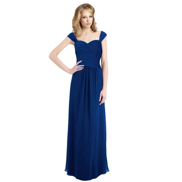Sophisticated Chiffon Floor Length Formal Evening Gown Bridesmaid Dress Blue 191229222600