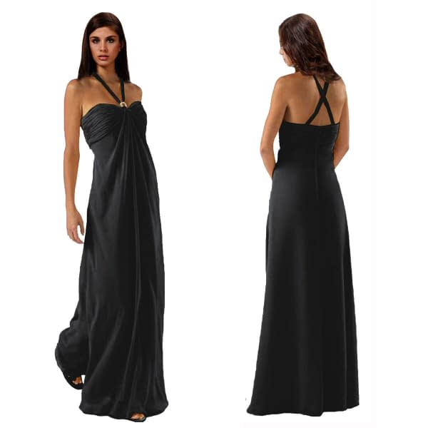 Gorgeous Long Flowing Formal Bridesmaid Dress Evening Party Night Gown Black 400736448228